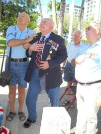 Brian Fowler, Bill Jackson, Glyn Archer and David Goggin at the cenotaph after Bill placed the wreath.